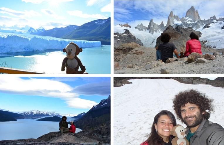 Em sentido horário: Glacial Perito Moreno, El Chaltén, Ushuaia e Torres del Paine