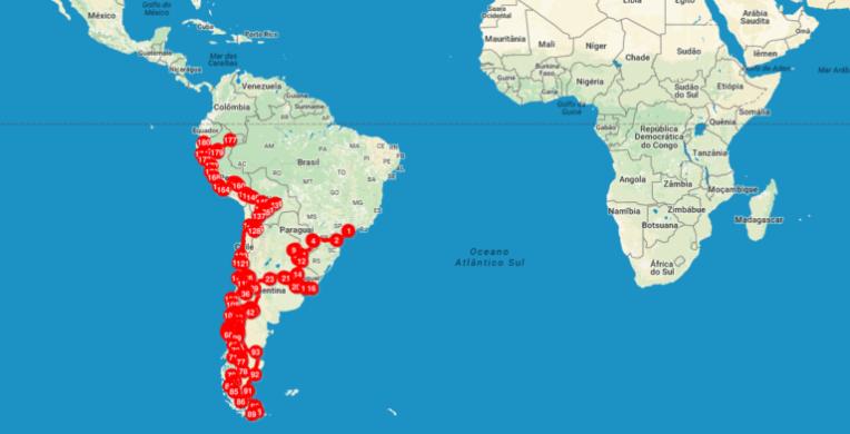 Mapa mochilão pela América do Sul