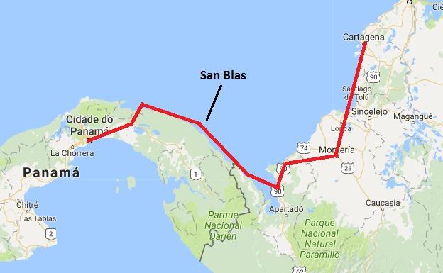 Recorrido desde Cartagena até a Cidade do Panamá