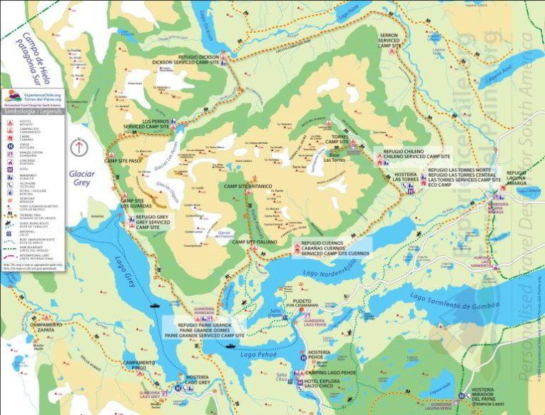 Mapa do Parque Nacional Torres del Paine, Chile