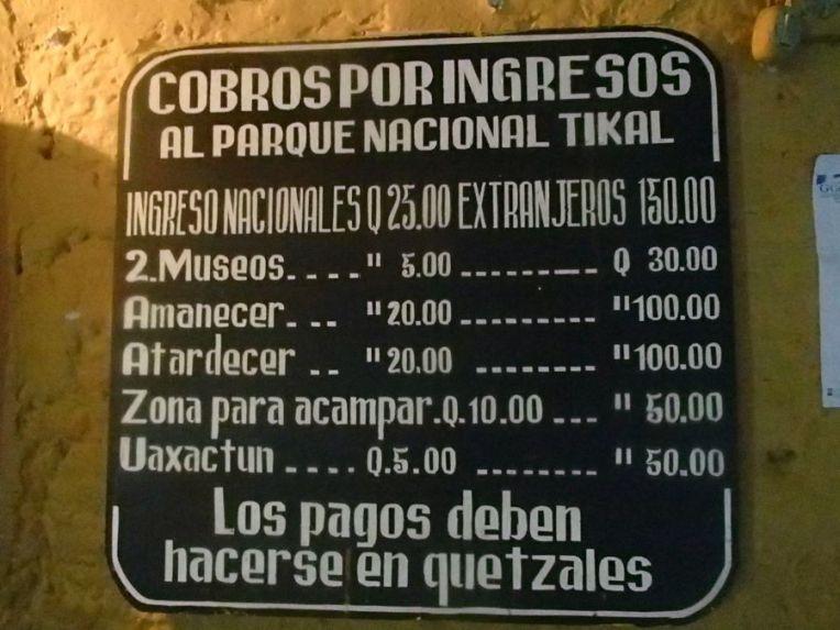 Preços da entrada em Tikal