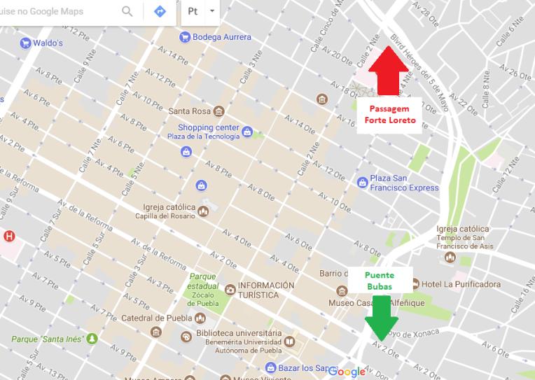 Mapa de onde estão os túneis de Puebla