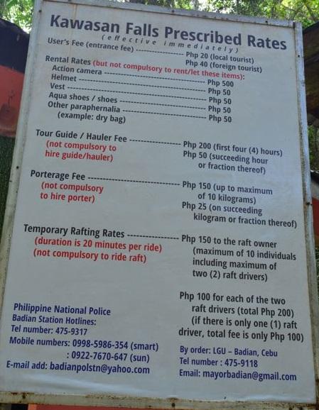 Preços dos serviços em Kawasan