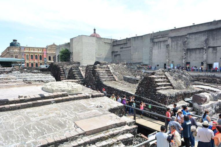 Ruínas astecas na Cidade do México