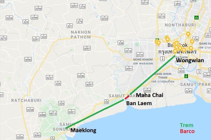 Indo de trem para o mercado de trens de Maeklong