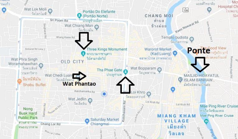 Mapa com os eventos do Loy Krathong