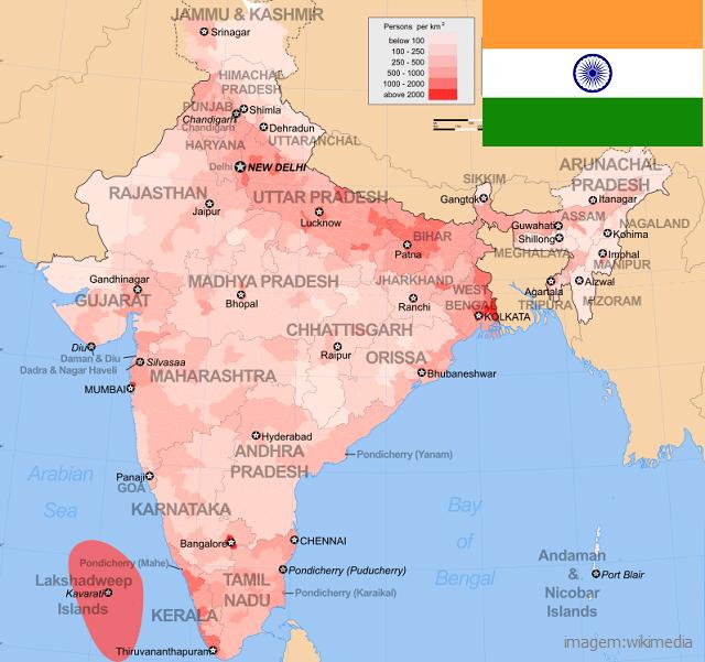 Top 10 países mais populosos do mundo - Índia