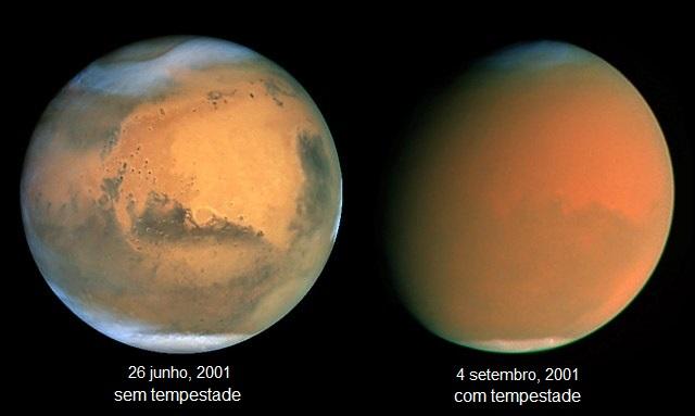 Grandes tempestades de poeira em Marte