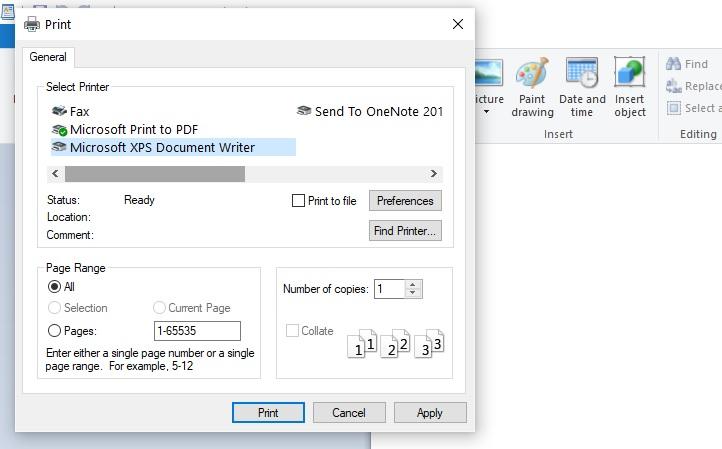 Исправлено: Microsoft XPS Document Writer отсутствует или не работает.