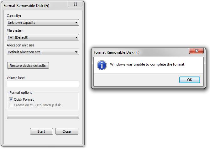 Быстрое исправление ошибки Windows не может завершить форматирование
