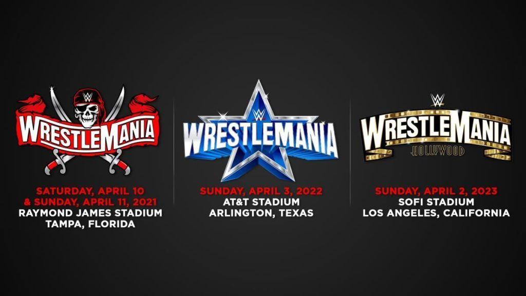 Cartel de las tres próximas ediciones de WrestleMania