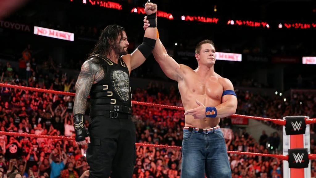 John Cena y Roman Reigns en No Mercy 2017