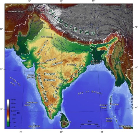 mapa físico india