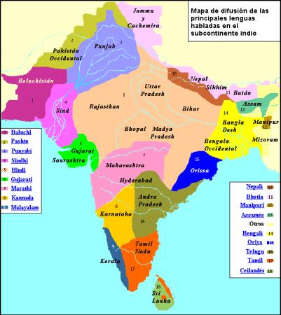 mapa idiomas india