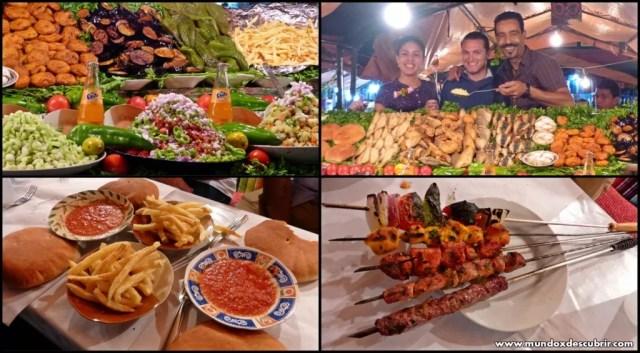 Puesto de comida Plaza Jemaa el Fna Marrakech - Marruecos