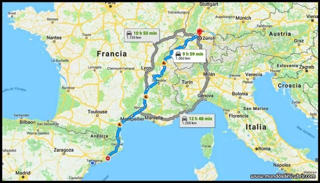 mapa distancia entre Barcelona y Zurich