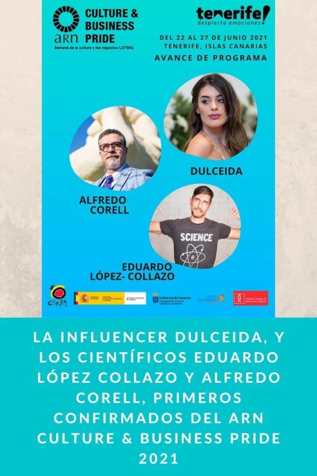 La influencer Dulceida, y los científicos Eduardo López Collazo y Alfredo Corell, primeros confirmados del ARN Culture & Business Pride 2021