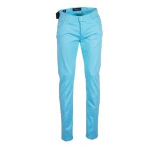 Kiton Jeans Herren 5-Pocket Baumwoll/Seide Luxus Türkis