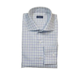 Finamore Herren Hemd Blau kariert Baumwolle/Leinen Luxus