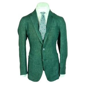 Stile Latino Anzug Herren Grün Leinen Luxus