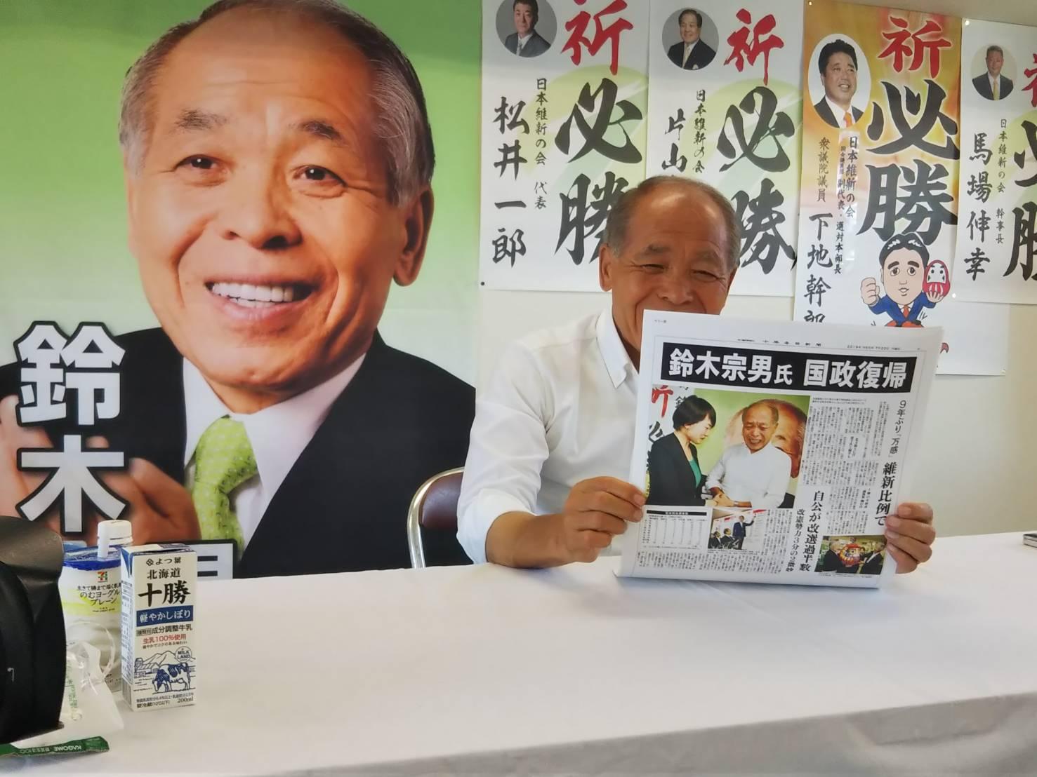 鈴木宗男当選ニュース一覧