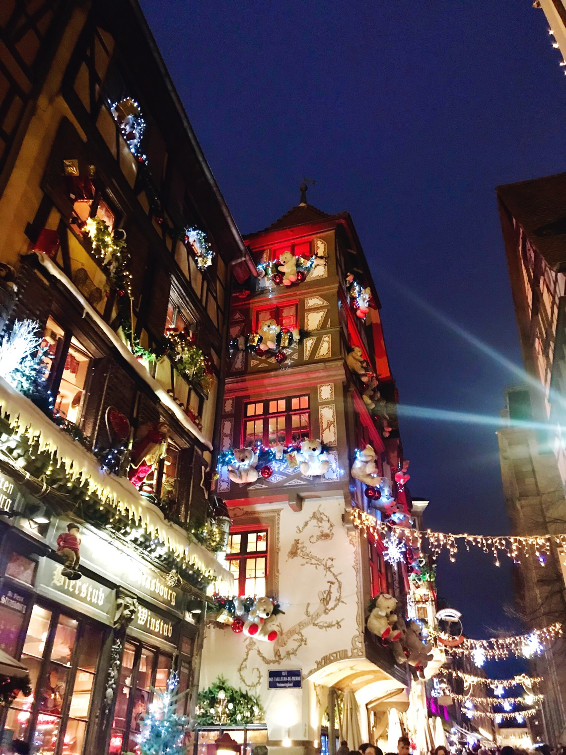 Christmas decorations in Strasbourg at night