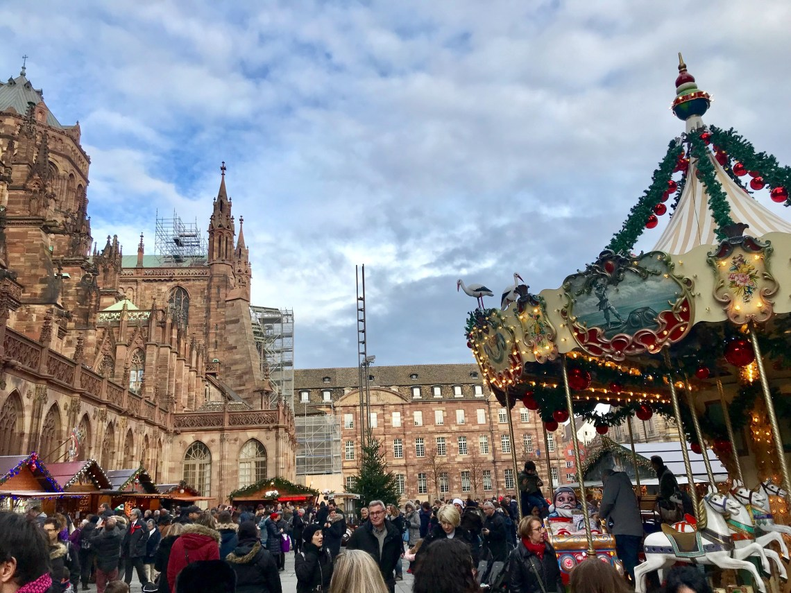 Christmas Markets in Strasbourg next to Cathedral
