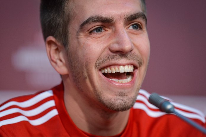 Philipp Lahm during a press conference with FC Bayern Munich at the stadium