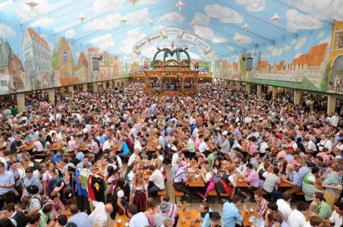 Inside the Hacker-Pschorr tent at Oktoberfest -- dpa