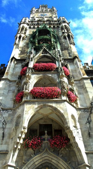 The Rathaus tower covered with geraniums