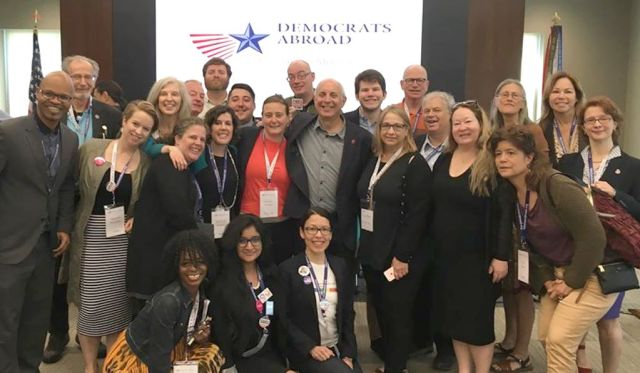 Larry Cohen of Our Revolution with progressive members of the DPCA -- Photo: Marnelle Rogers