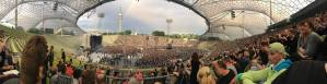 50,000+ braved an early rain storm to see Depeche Mode at Munich's Olympiastadion -- photo: Dobbi Dunn