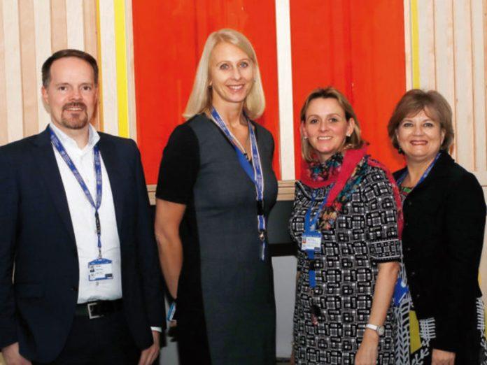 F.l.t.r. Marco Dahl (Business Director), Dr. Chrissie Sorenson (Director), Angela Hoelzl (Principal – Primary School, Campus Schloβ Haimhausen), Annette Austin (Assistant Principal)