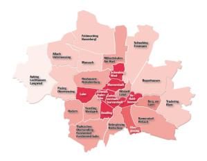 The darker red shows the fastest growing areas of Munich