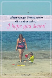 Mommy in the pool! Moms need to ignore the negative body image messages inside our heads, put on a suit and get in the water with our families!