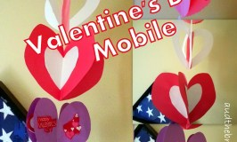 Valentines Day Mobile - Simple decoration made from construction paper hearts sewn together.