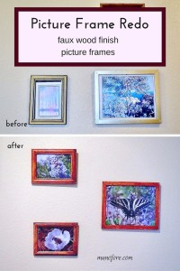 Picture Frames Redo - from gold to faux wood. Simple and cheap picture frame redo.