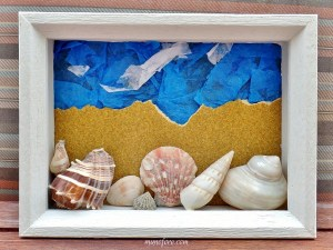 Turn some old frames, photos and beach treasures into a Beach Memories Shell Collage. Father's Day gift, Kid's craft project, summer fun.