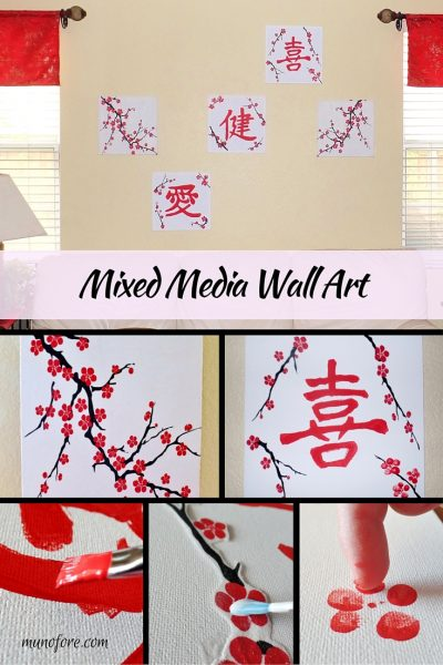 Mixed Media Wall Art - cheap and easy wall art with paint, fabric and markers.