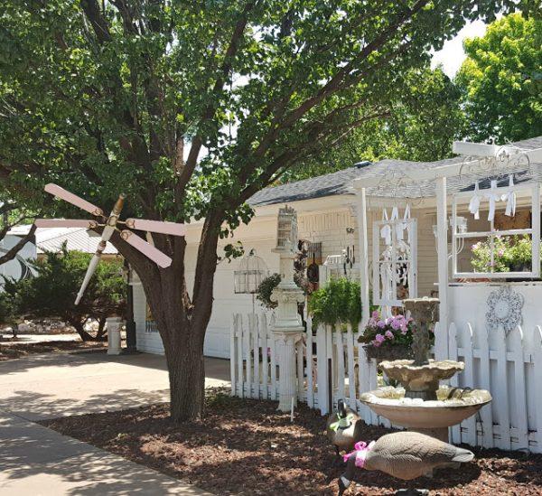 Fan blade and bedpost dragonfly - garden art
