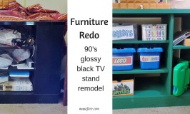 Furniture refinish - glossy black TV stand remodel to a chalky paint finish toy shelf.
