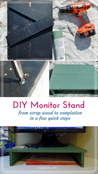 How I made a simple computer monitor stand from scrap wood to save my neck and some money. ergonomics, home office, upcycle, DIY