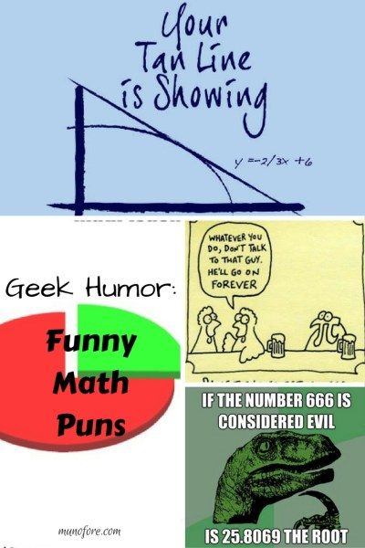 Math puns from @mymunofore - a collection of funny mathematics puns. humor, geek humor, jokes. geometry, algebra, calculus.