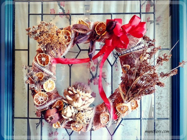 Autumn's Beauty Wreath: Using seed pods and dried flowers and fruit to create a fall door wreath. Autumn Door Wreath. California Native Plants.