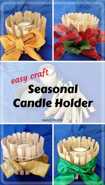 Easy Craft: Candle Holder for All Seasons: candle holder made with clothes pins that can be redecorated every season. kids craft