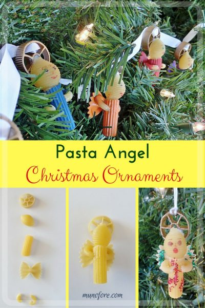 Pasta Angels: christmas ornaments made with uncooked pasta. Use as a tree decoration or on Christmas presents. Kids craft.