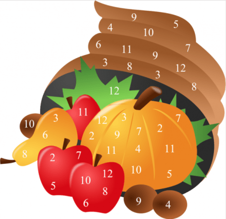 Thanksgiving dice game from Grandma Ideas.