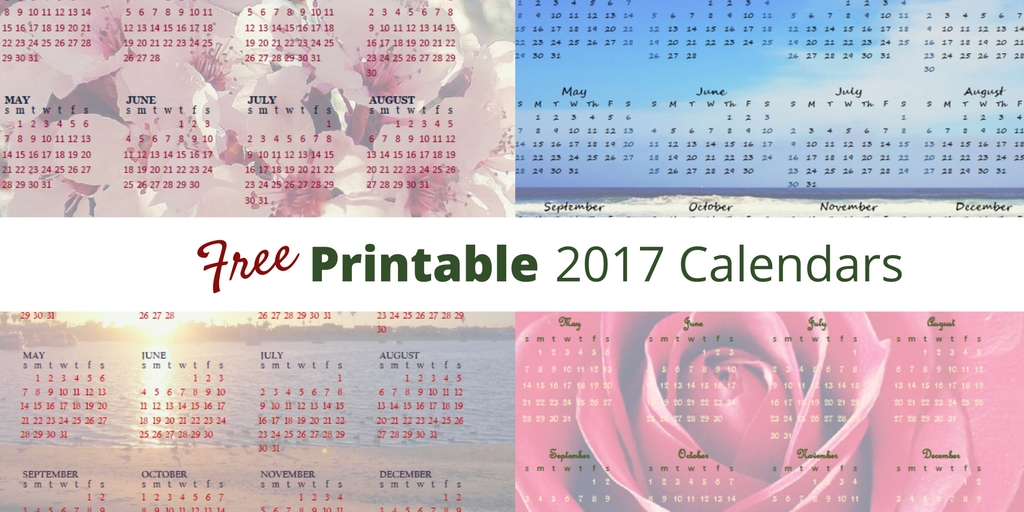 Free Printable 2017 Year at a Glance Calendars