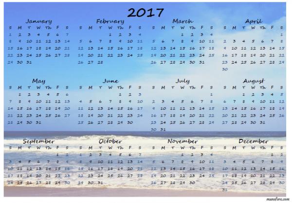 2017 Pacific Ocean calendar