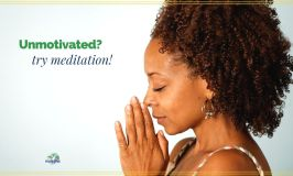 "woman with eyes closed bowing head in prayer with text overlay ""Unmotivated? try meditation!"""